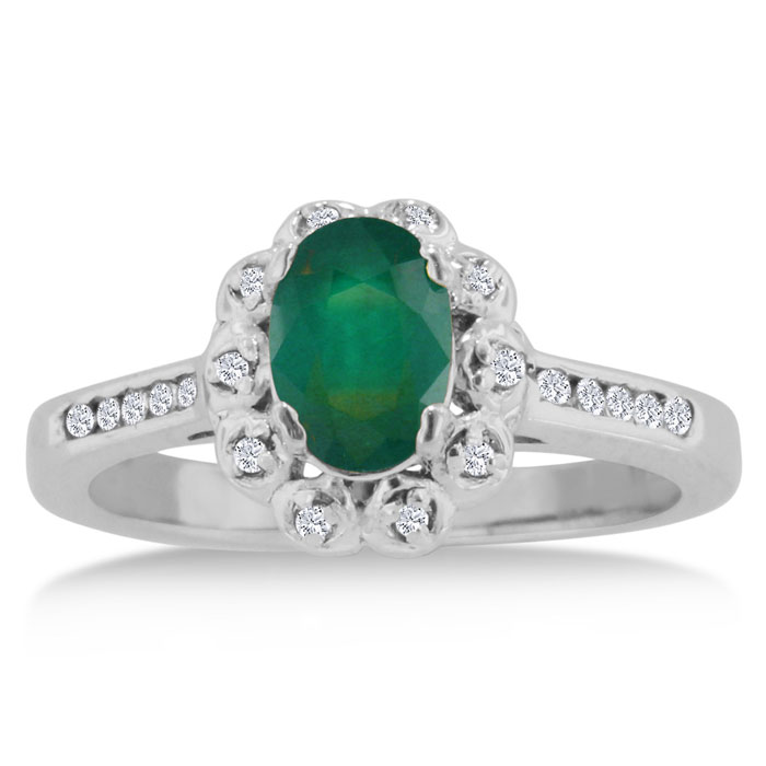 1 1/4ct Oval Emerald and Diamond Ring Crafted In Solid 14K White Gold