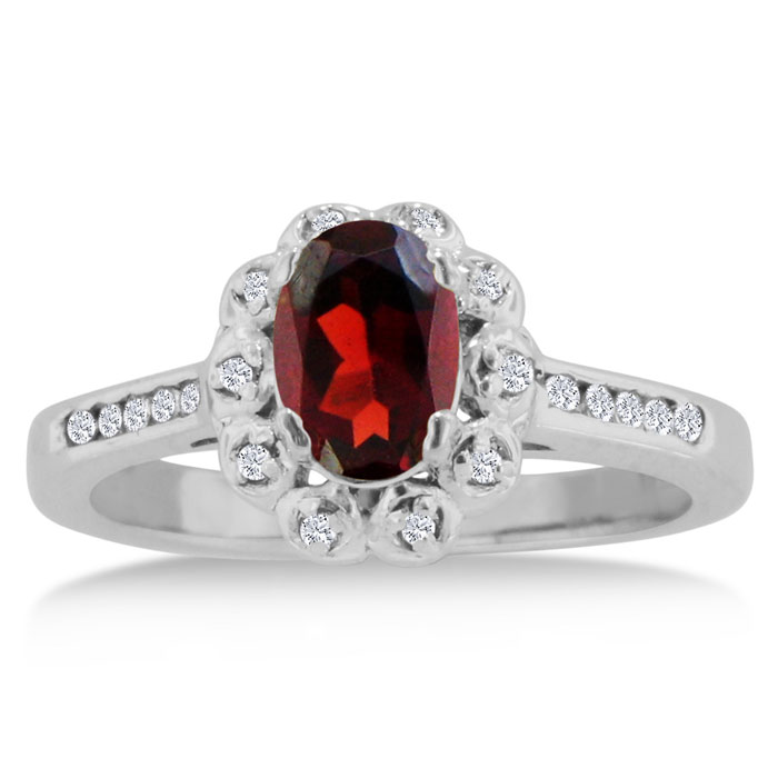 1.25 Carat Oval Garnet & Diamond Ring Crafted in Solid 14K White