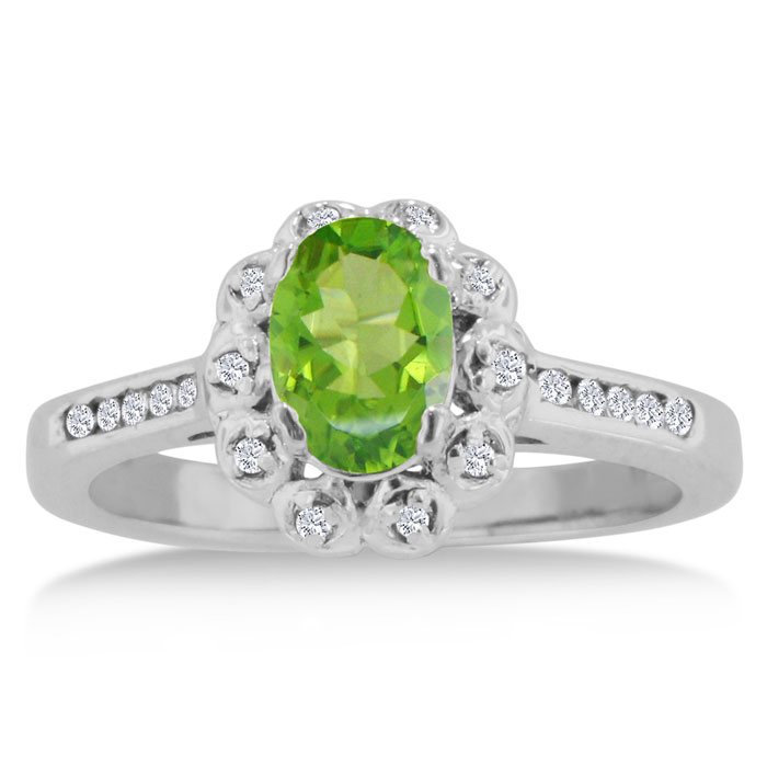 1.25 Carat Oval Peridot & Diamond Ring Crafted in Solid 14K White
