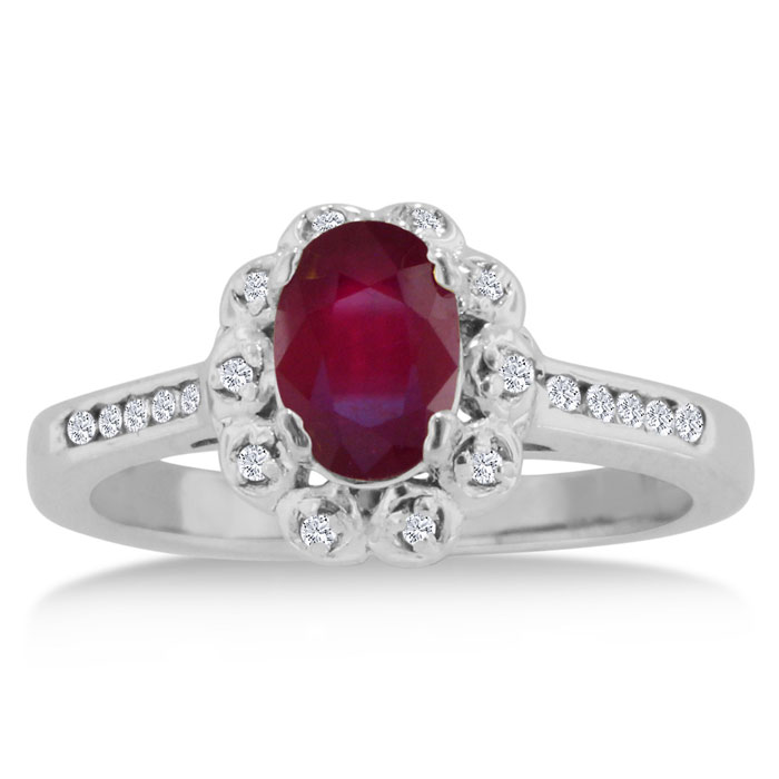 1.25 Carat Oval Ruby & Diamond Ring Crafted in Solid 14K White Gold, I/J by SuperJeweler