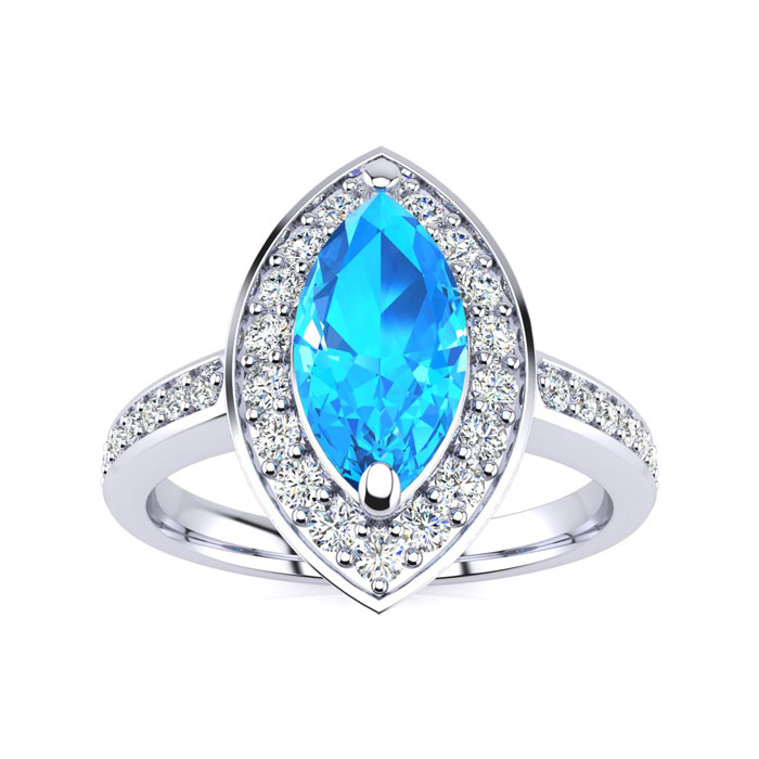 1 Carat Marquise Blue Topaz & Diamond Ring Crafted in Solid 14K W
