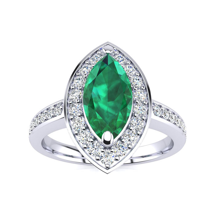 1 Carat Marquise Emerald Cut & Diamond Ring Crafted in Solid 14K White Gold, I/J by SuperJeweler