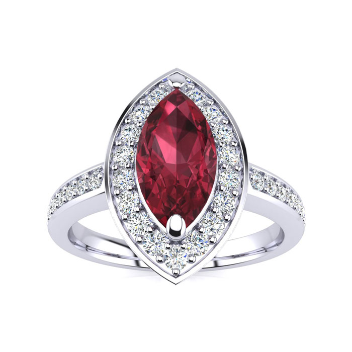 1 Carat Marquise Garnet & Diamond Ring Crafted in Solid 14K White