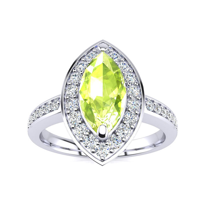 1ct Marquise Peridot and Diamond Ring Crafted In Solid 14K White Gold