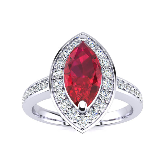 1ct Marquise Ruby and Diamond Ring Crafted In Solid 14K White Gold