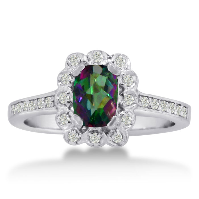 1ct Oval Mystic Topaz and Diamond Ring Crafted In Solid 14K White Gold 11926