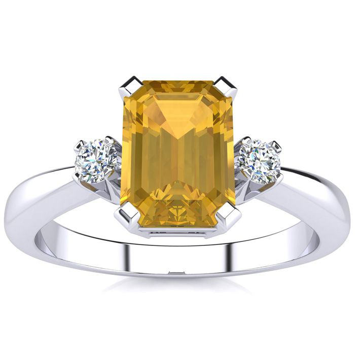 1.5 Carat Citrine & Diamond Ring Crafted in Solid 14K White Gold,