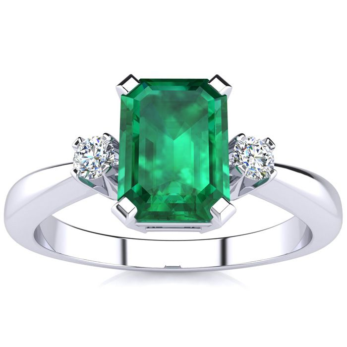 2.50ct Emerald Cut Emerald and Diamond Ring Crafted In Solid 14K White Gold