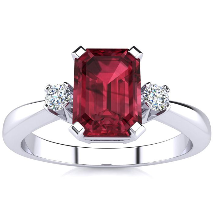 1ct Emerald Cut Garnet and Diamond Ring Crafted In Solid 14K White Gold