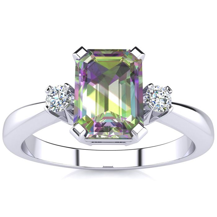 1 Carat Mystic Topaz & Diamond Ring Crafted in Solid 14K White Go