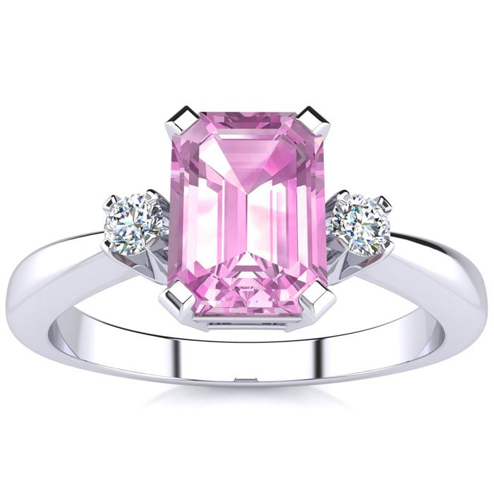 1 Carat Pink Topaz & Diamond Ring Crafted in Solid 14K White Gold
