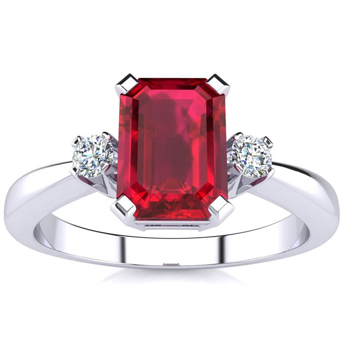 1 Carat Ruby & Diamond Ring Crafted in Solid 14K White Gold, I/J by SuperJeweler