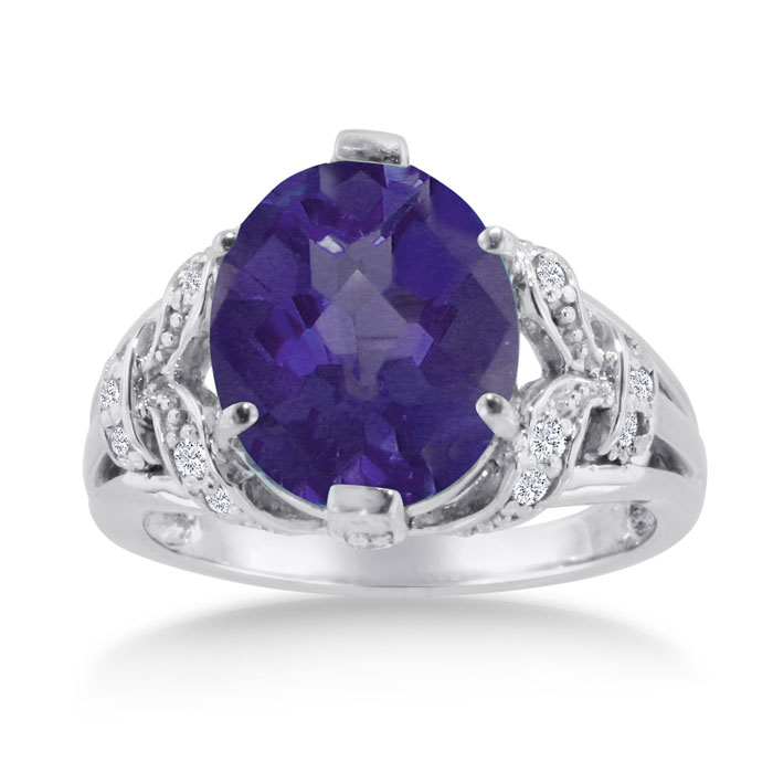 6 Carat Oval Amethyst & Diamond Ring Crafted in Solid 14K White Gold, I/J by SuperJeweler
