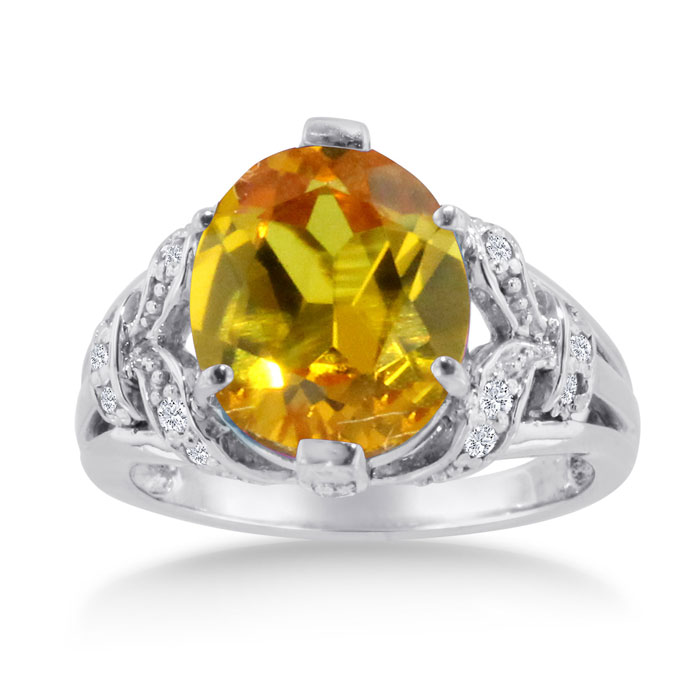6 Carat Oval Citrine & Diamond Ring Crafted in Solid 14K White Go