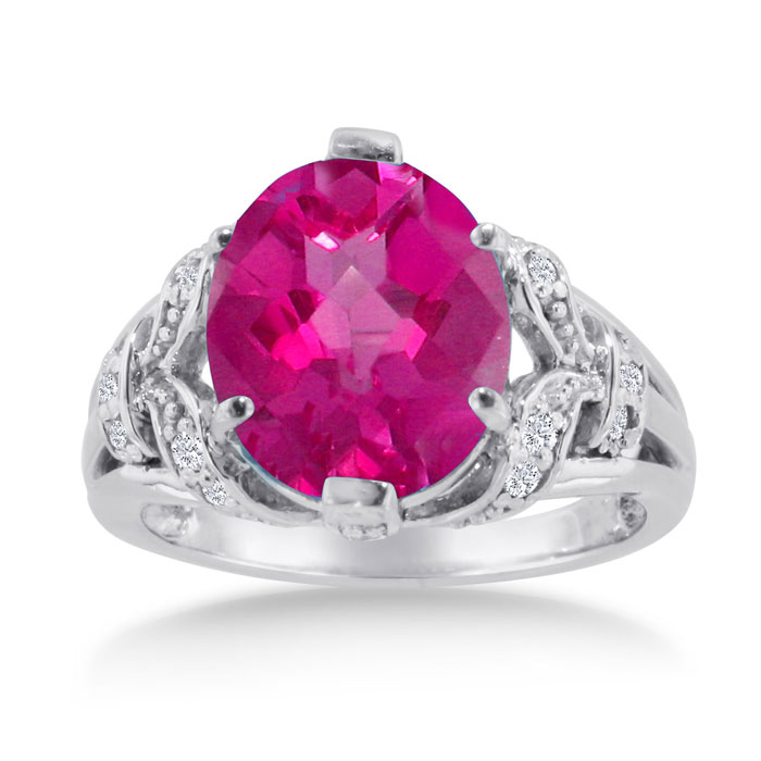 6 Carat Oval Created Pink Sapphire & Diamond Ring Crafted in Solid 14K White Gold, I/J by SuperJeweler
