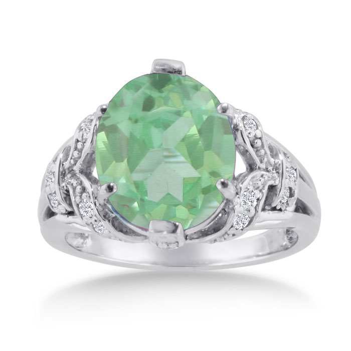 6 Carat Oval Green Amethyst & Diamond Ring Crafted in Solid 14K White Gold, I/J by SuperJeweler
