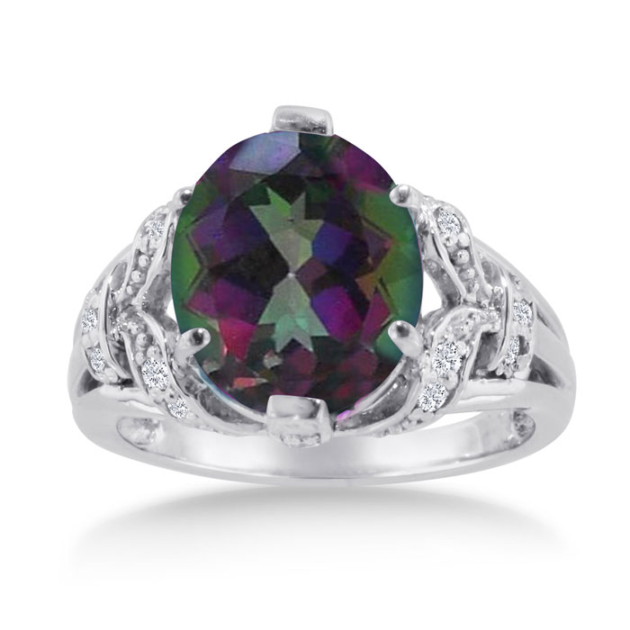 6ct Oval Mystic Topaz and Diamond Ring Crafted In Solid 14K White Gold 11952