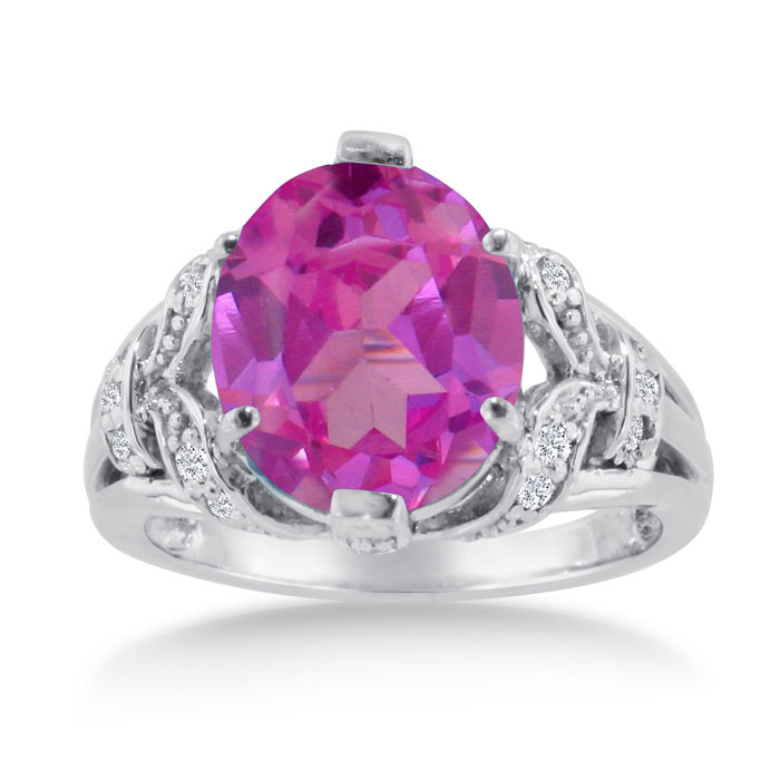 6 Carat Oval Pink Topaz & Diamond Ring Crafted in Solid 14K White