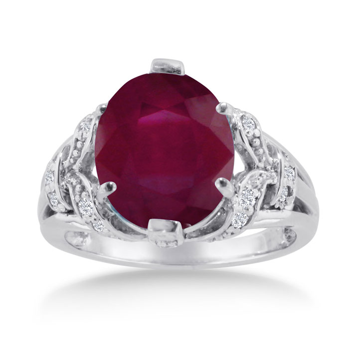 6 Carat Oval Ruby & Diamond Ring Crafted in Solid 14K White Gold,