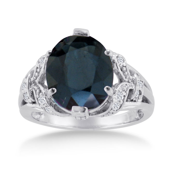 6 Carat Oval Sapphire & Diamond Ring Crafted in Solid 14K White Gold, I/J by SuperJeweler