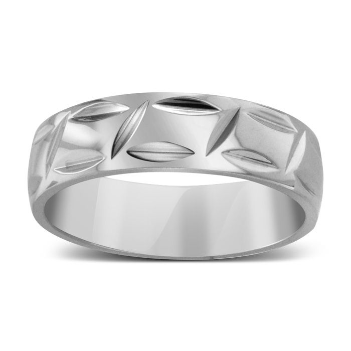 7 MM Polished Textured Mens Titanium Ring Wedding Band by Hansa