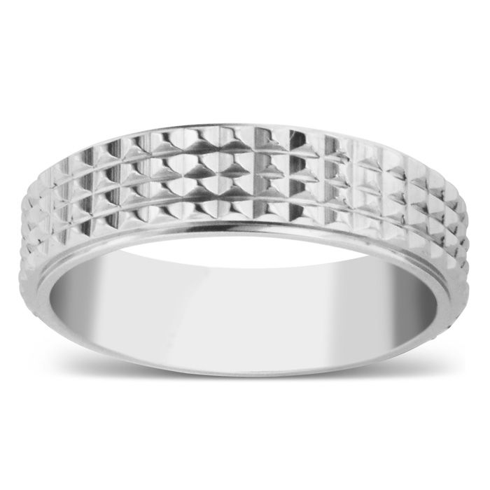 6 MM Brushed Finish Grated Men's Titanium Ring Wedding Band