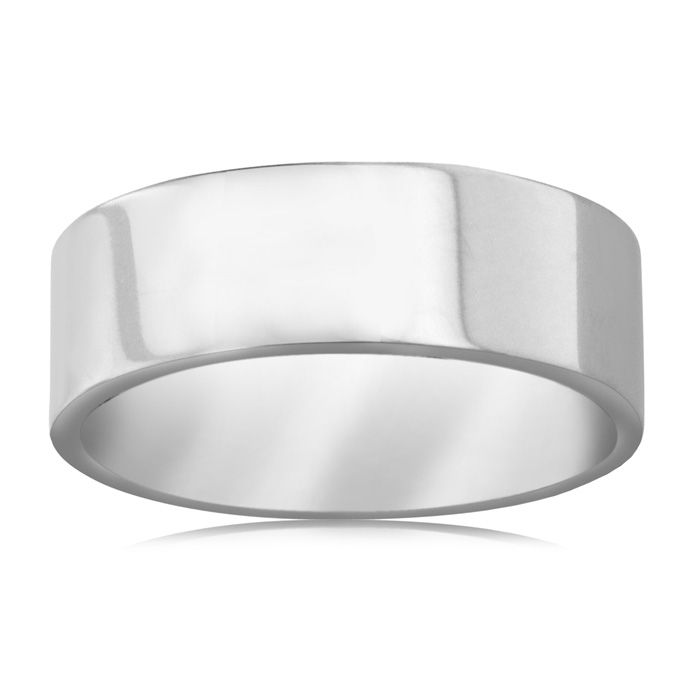 8 MM Polished Flat Top Men's Titanium Ring Wedding Band