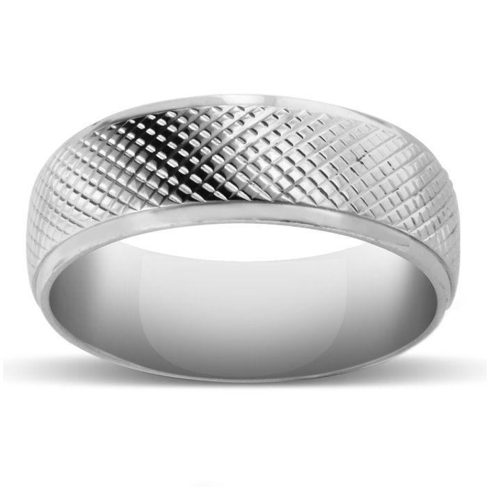 8 MM Brushed Finish Saw-Tooth Mens Titanium Ring Wedding Band by