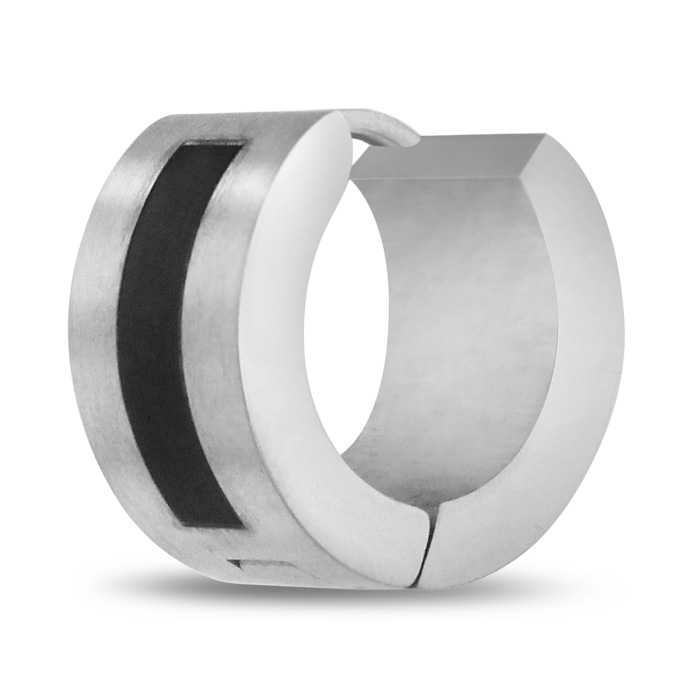 Image of Men's 7 MM Two Tone Black Stainless Steel Hoop Huggie Earring