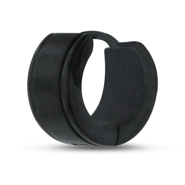 Mens 7 MM Black Stainless Steel Hoop Huggie Earring by SuperJewel