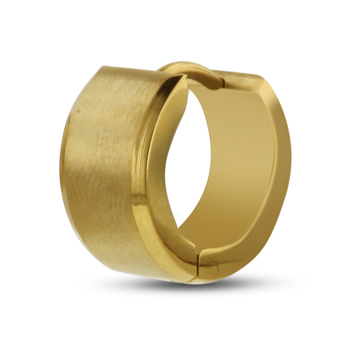 Image of Men's 7 MM Polished Gold Tone Stainless Steel Hoop Huggie Earring