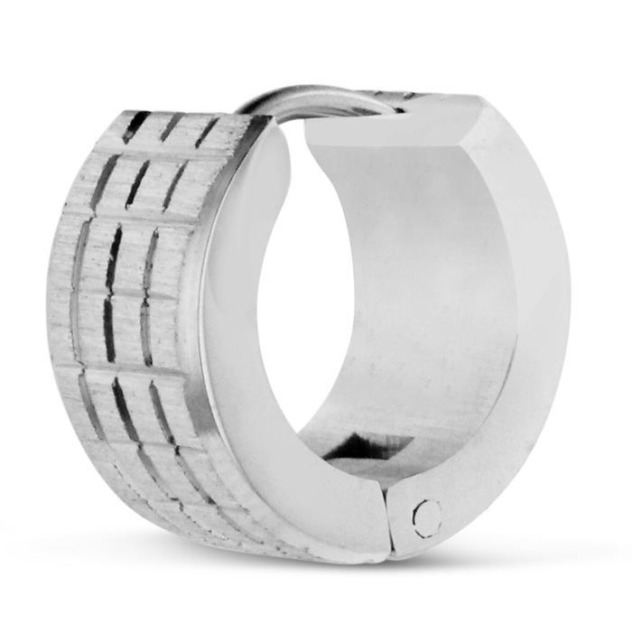 Image of Men's 7 MM Brushed Silver Textured Stainless Steel Hoop Huggie Earring