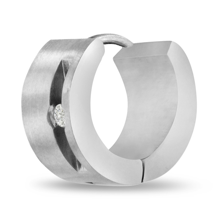 Image of Men's 7 MM Stainless Steel Hoop Huggie Earring With Cubic Zirconia Accents