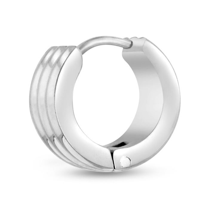 Mens 7 MM Polished Stainless Steel Grooved Hoop Huggie Earring by