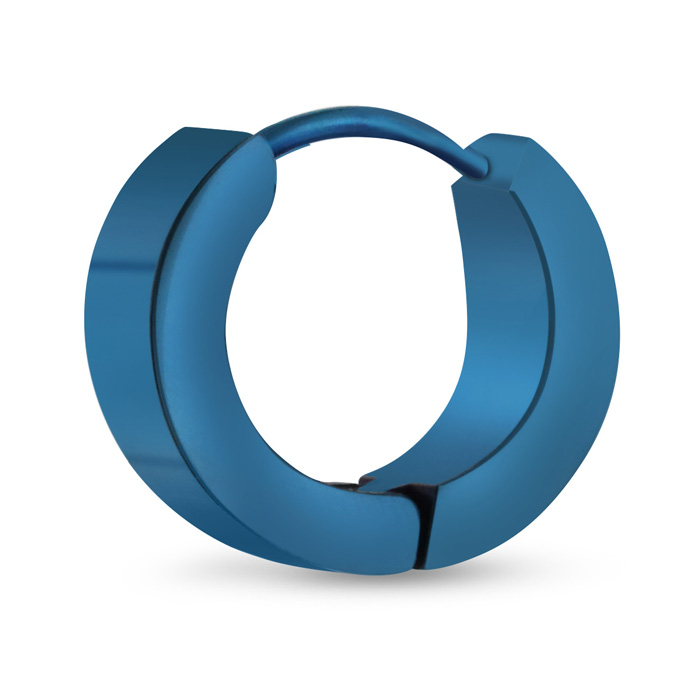Mens 7 MM Polished Blue Tone Stainless Steel Hoop Huggie Earring by SuperJeweler