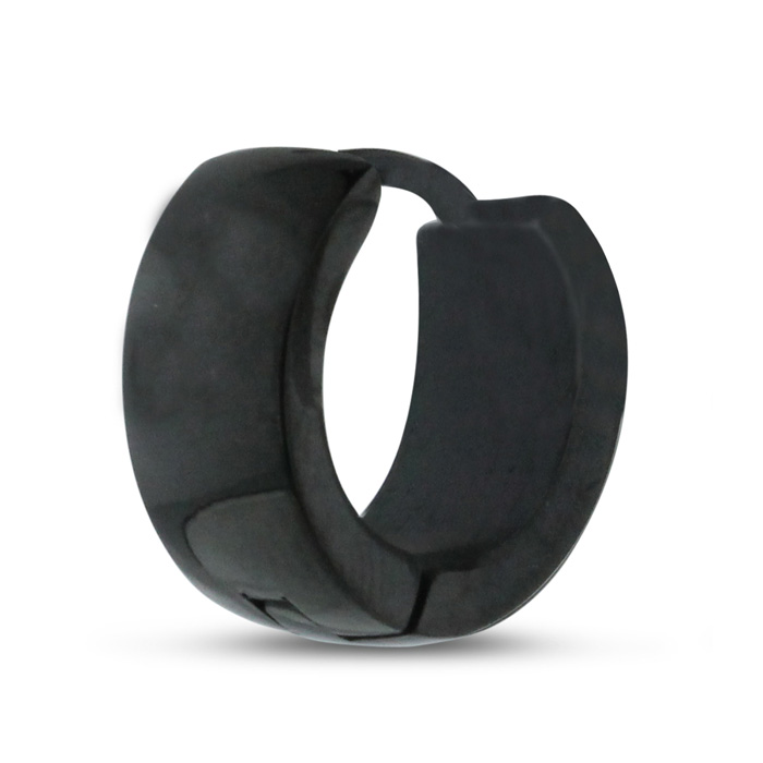 Image of Men's 7 MM Polished Black Stainless Steel Hoop Huggie Earring