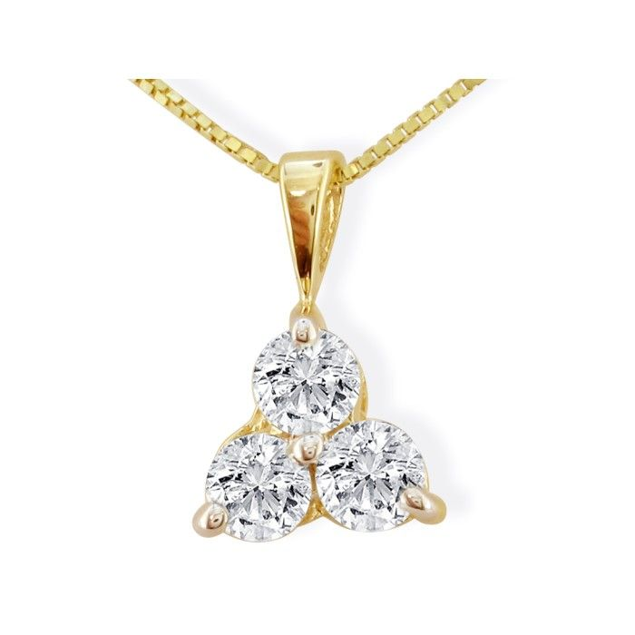 1/4 Carat Three Diamond Triangle Style Diamond Pendant Necklace in 14k Yellow Gold, , 18 Inch Chain by SuperJeweler