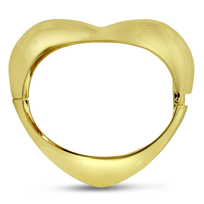 Gold Heart Bangle Bracelet, 7 Inch by Passiana