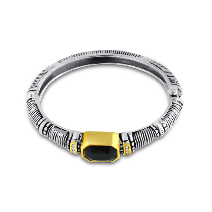 Image of Two-Tone Cable Bangle Bracelet With Large Black Stone and Crystals