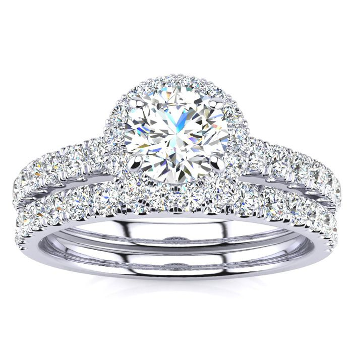 1 Carat Floating Pave Halo Diamond Bridal Engagement Ring Set in 14k White Gold (5.5 g) (H-I, SI2-I1) by SuperJeweler