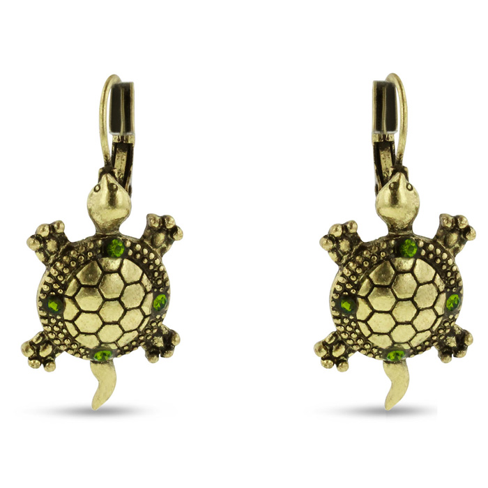 Brushed Gold Green Crystal Turtle Leverback Earrings by SuperJewe