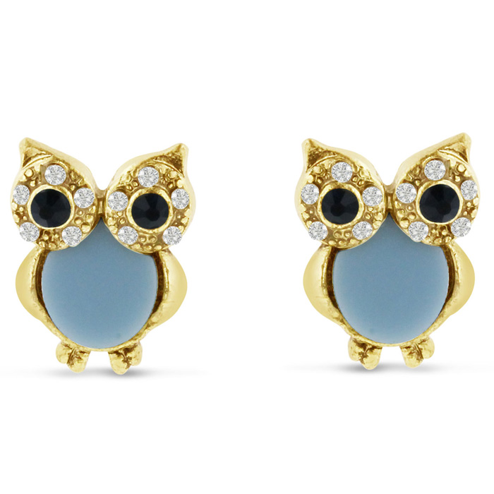 Brushed Gold Blue & White Crystal Owl Stud Earrings by SuperJewel