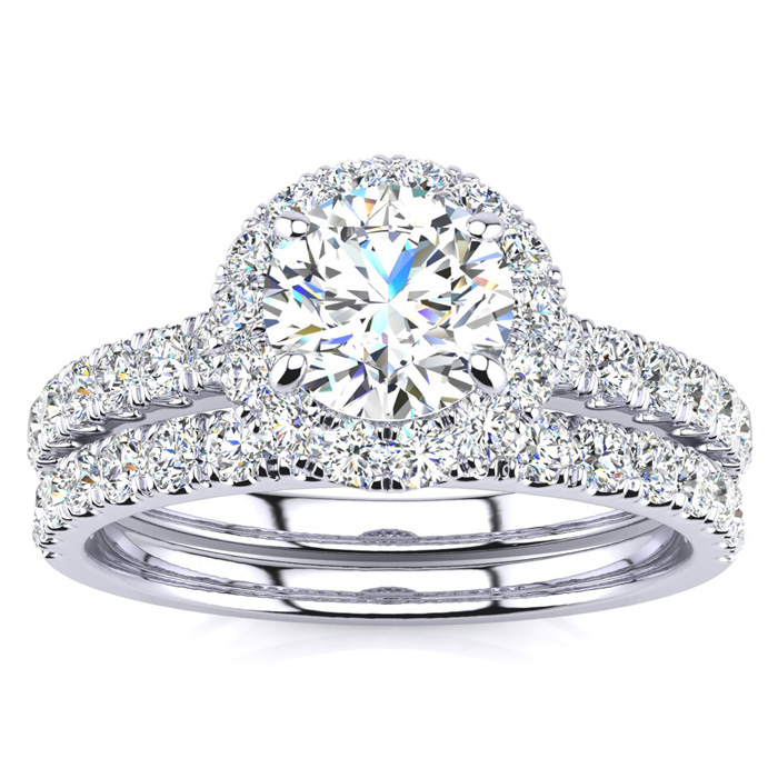 1.5 Carat Pave Halo Diamond Bridal Engagement Ring Set in 14k Whi