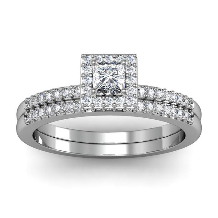 1/2 Carat Princess Cut Pave Halo Diamond Bridal Ring Set in 14k W