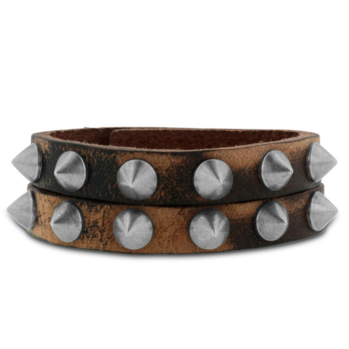 Mens Rockstar Studded Split Strand Leather Bracelet, 8 Inch by Su