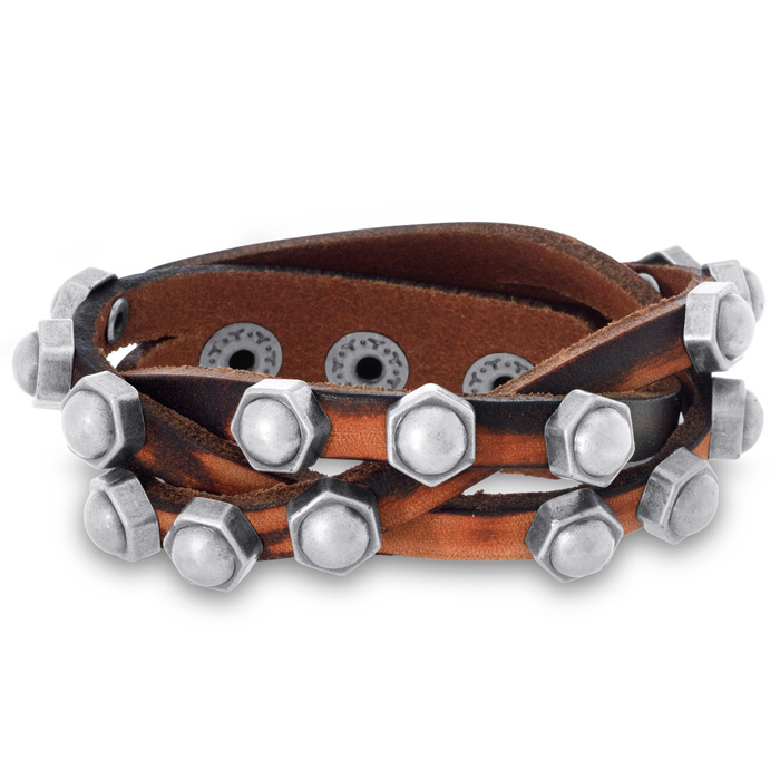 Mens Criss Cross Braided Studded Leather Bracelet, 3/4 Inches Wid