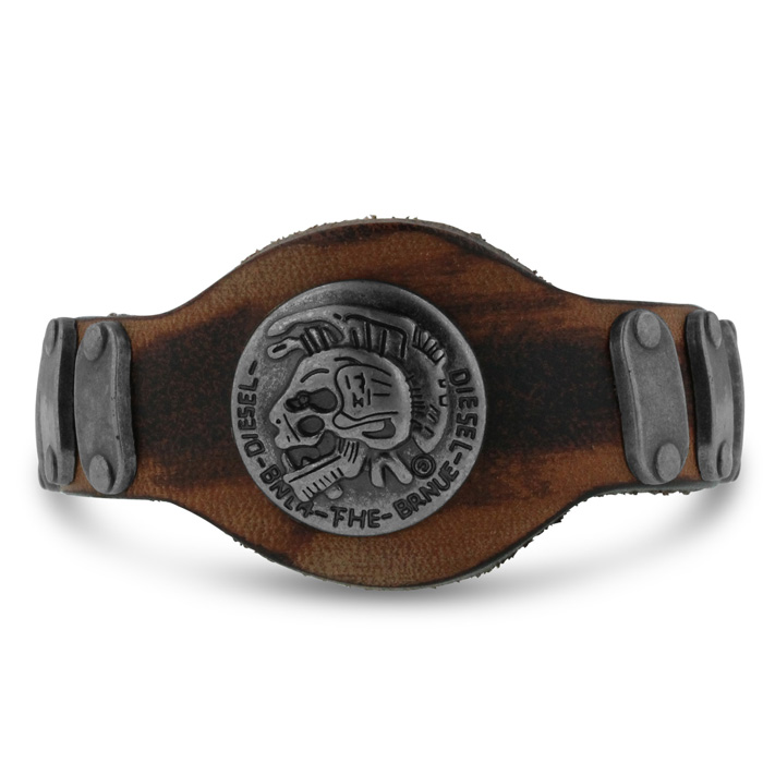 Antique Style Mens Skull Leather Bracelet, 8 Inch by SuperJeweler