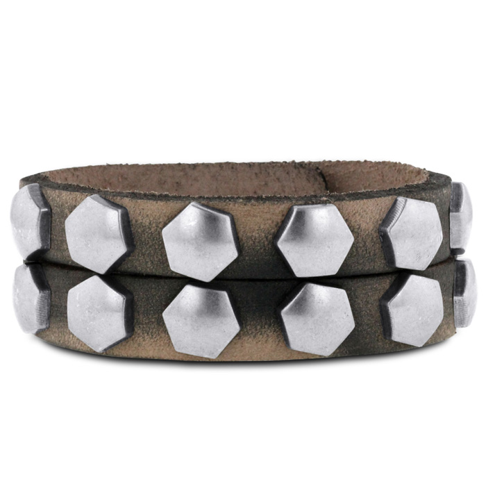 Mens Studded Double-Strand Leather Bracelet, 3/4 Inches Wide by S