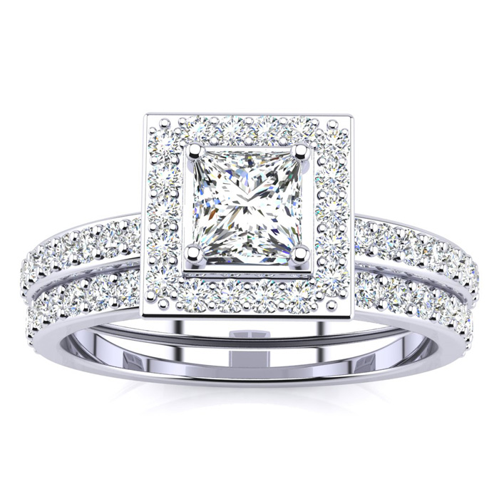 1 Carat Princess Cut Pave Halo Diamond Bridal Engagement Ring Set in 14k White Gold (H-I, SI2-I1) by SuperJeweler