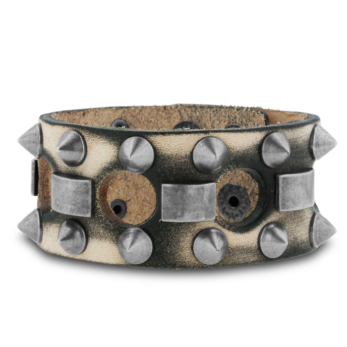 Mens 1 Inch Wide Studded Leather Bracelet by SuperJeweler